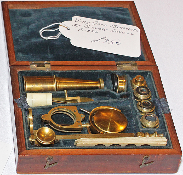 Brass microscope in box