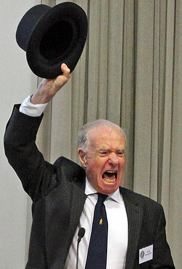 Brian Bracegirdle with his silk top hat