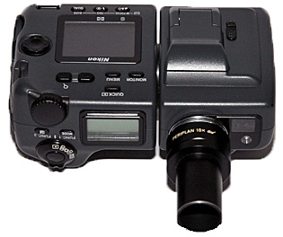 Eyepiece attached to a compact camera