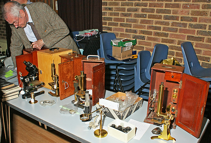 Microscopium 2013 - John Fletcher selling brass microscopes