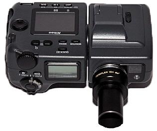 Nikon Coolpix camera with Leitz Periplan 10× microscope eyepiece