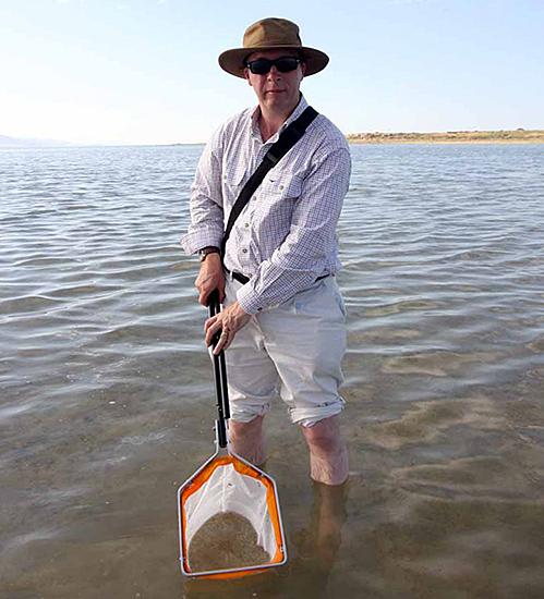 Phil catching shrimps