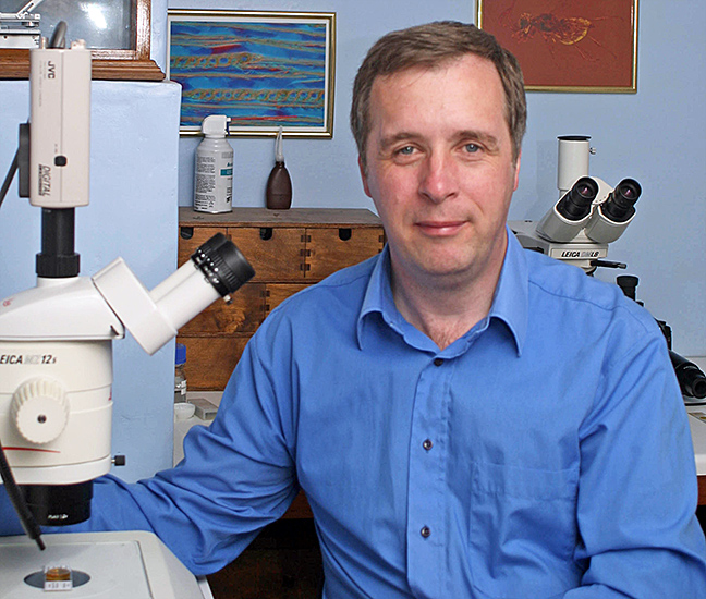 Phil Greaves with his microscopes