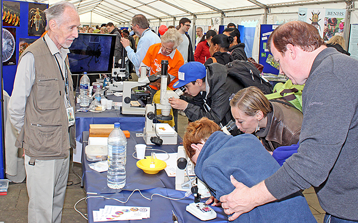 Visitors to the Quekett stand