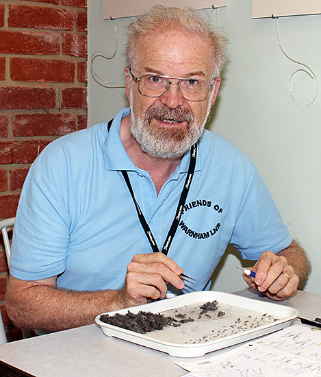 Richard Symonds with owl pellets