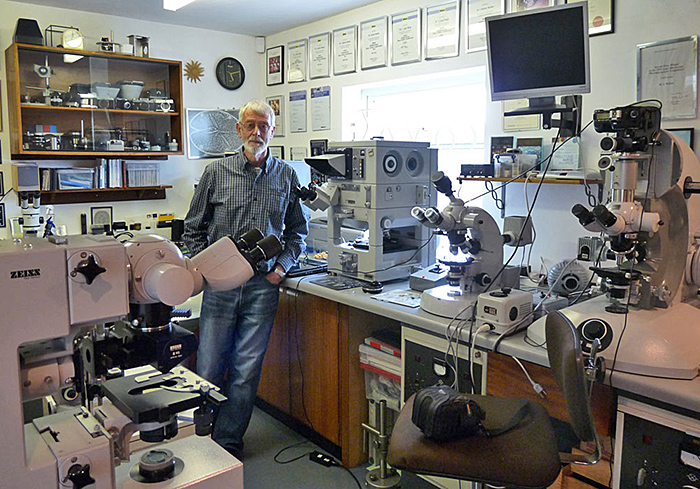 Spike Walker and his microscopes