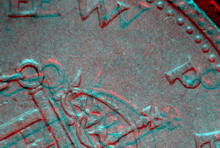 Stereo pair of coin for red/cyan anaglyph glasses