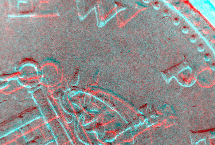 Inverted stereo pair of coin for red/cyan anaglyph glasses