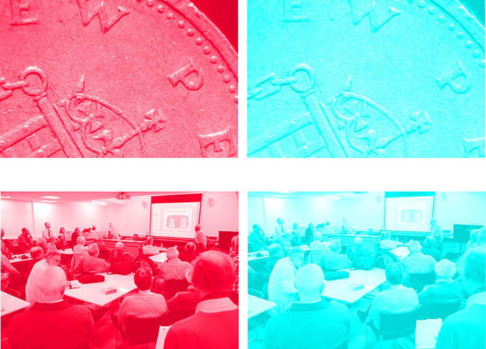 Stereo pairs separated into red and cyan images