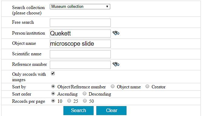 SurgiCat Advanced search for Quekett slides