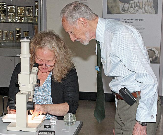 Dennis Fullwood with older visitor