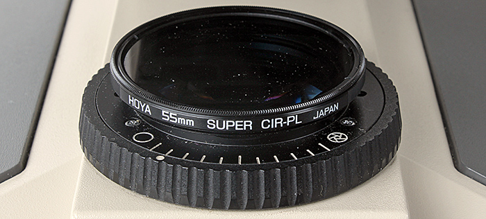 Polarising filter on Olympus BH-2