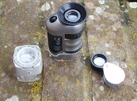Hand lens, NHM Microscope and lichens