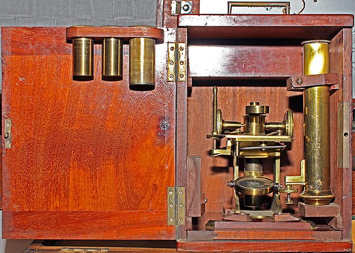 Brass microscope in small box