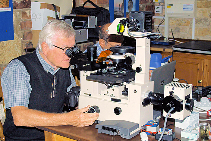 Ray Sloss and his Olympus IMT-2 inverted microscope