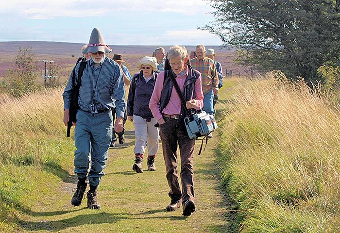 Spike Walker and John Ward leading us to the Fen Bog