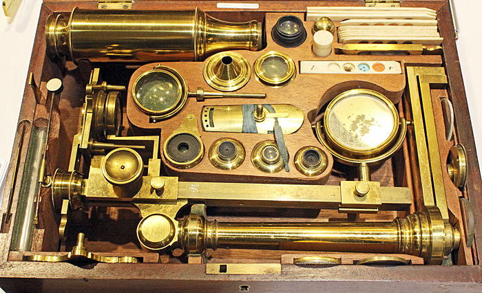 Brass microscope with lots of accessories