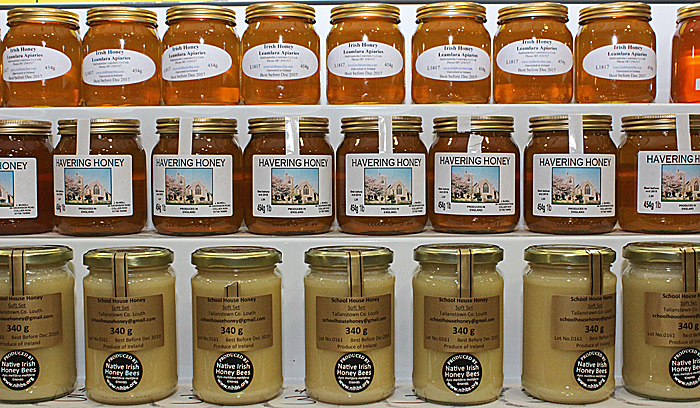 Labelled jars of honey