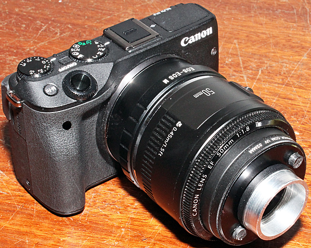 Canon EOS M3 equipped for afocal photomicrography