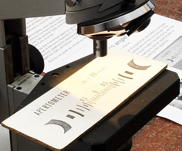 Cheshire's apertometer on a Lomo microscope