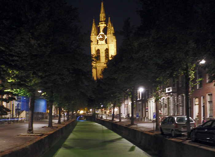 Canal and cathedral at night