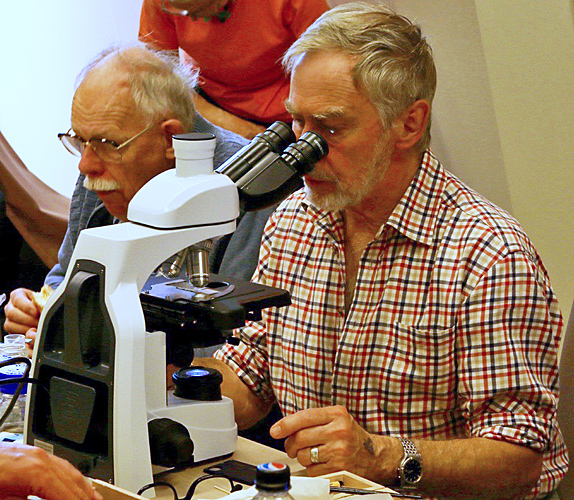 Terry Hope with his trinocular microscope