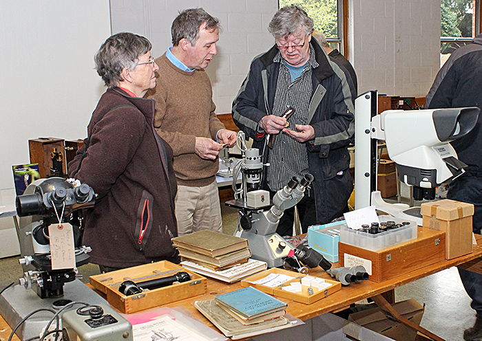 Joan Bingley, Phil Greaves and Danny with some interesting microscopes