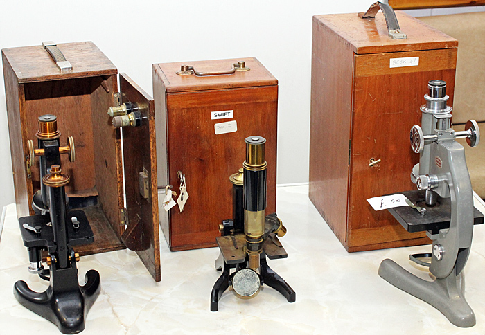 Monocular microscopes with wooden boxes