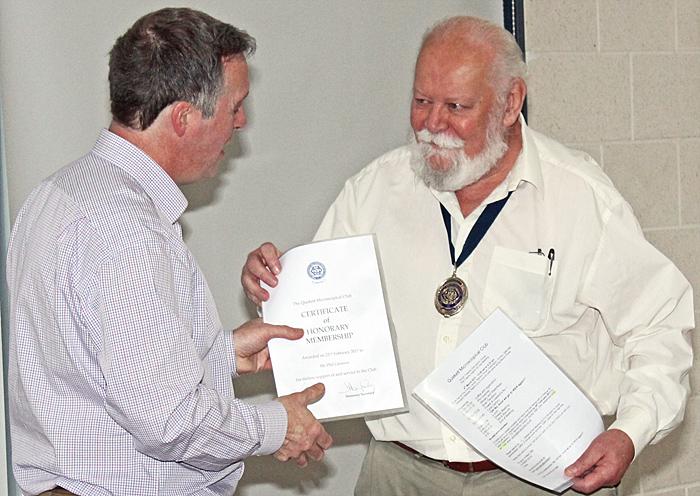Carel Sartory presenting Phil Greaves with Certificate of Honorary Membership