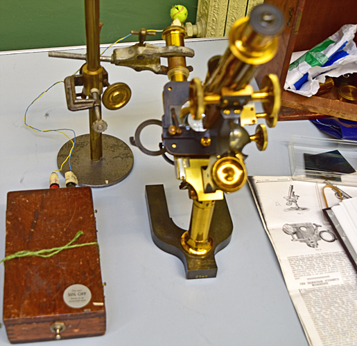 Brass microscope with LED lamp