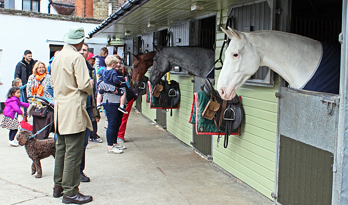 Visitors to the stables