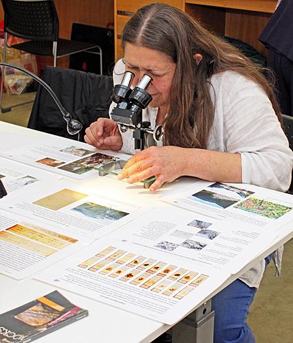 Irma Irsara admiring Pam Hamer's exhibit
