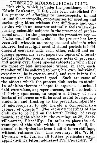 Extract from The English Mechanic September 1865