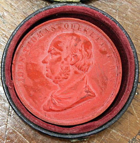 Wax medal of John Thomas Quekett
