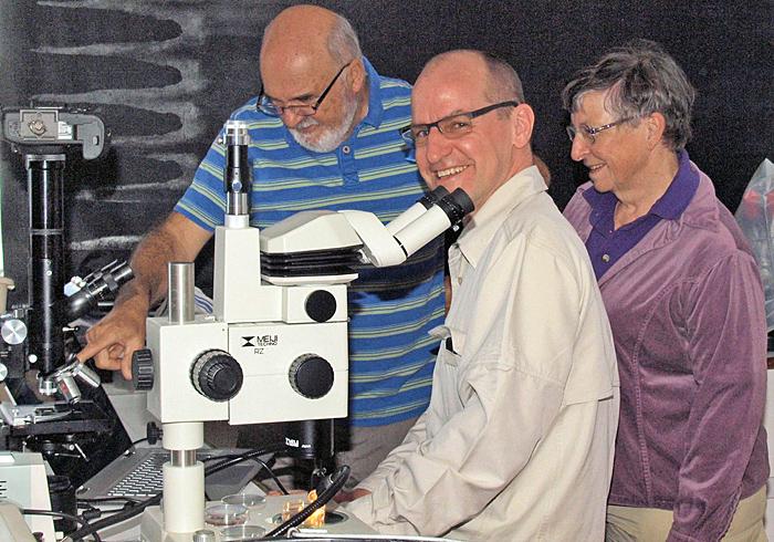 In the lab: Julian Cremona, Andy Beveridge and Joan Bingley