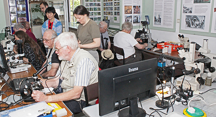 Quekett members and visitors in the Information Centre