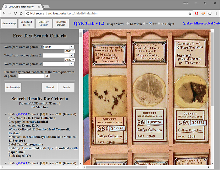 Database of the QMC slide collection