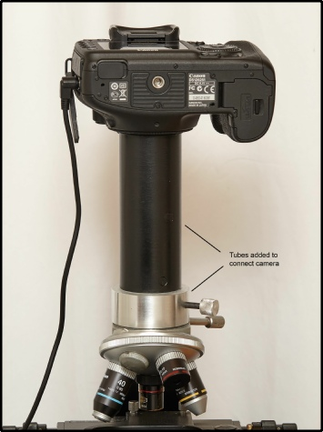 Camera attached to microscope with home built tubes