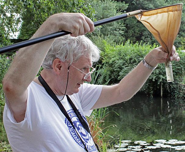Graham Matthews with his plankton net