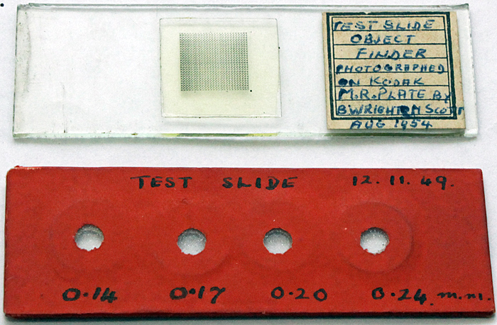 Object finder slide and test plate