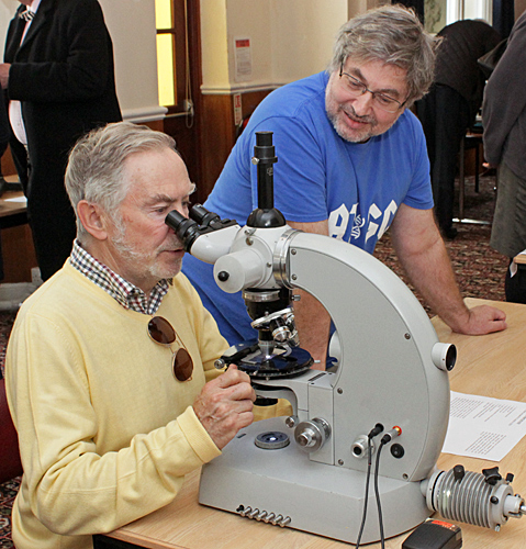 Terry Hope with his microscope