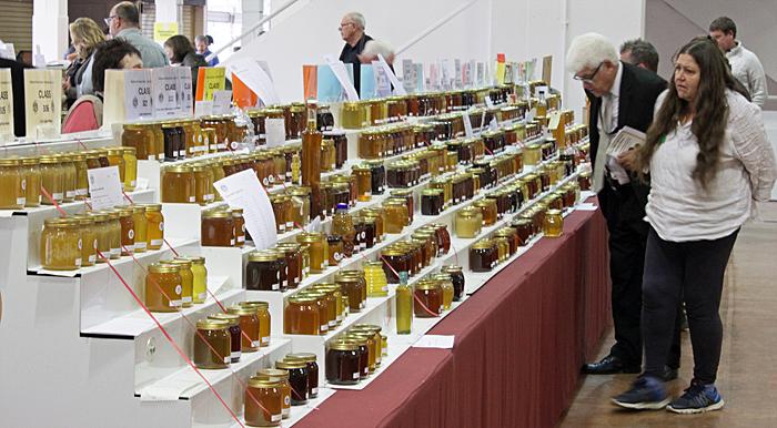 Long rows of jars of honey