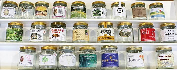 Labelled honey jars