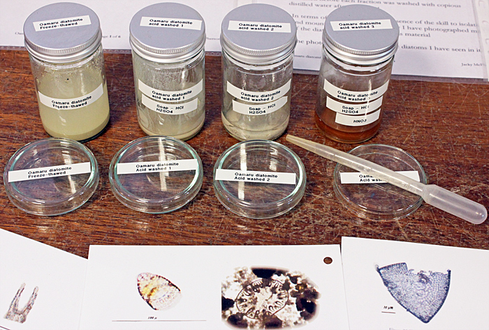 Stages in processing Oamaru diatomite