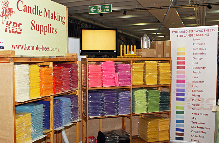 Coloured beeswax for making candles