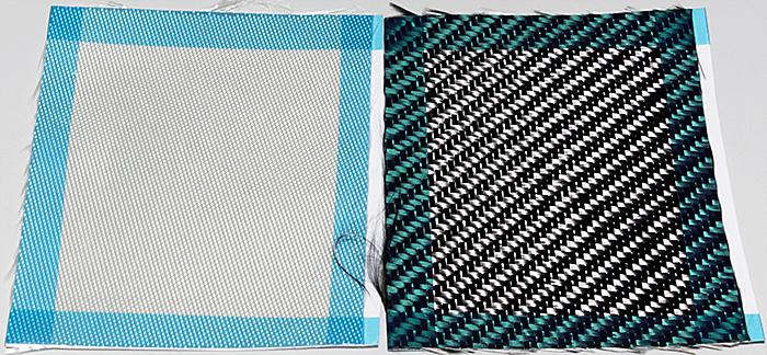 Glass fibre and carbon fibre fabrics