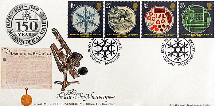 Stamps commemorating the 150th anniversary of the Royal Microscopical Society