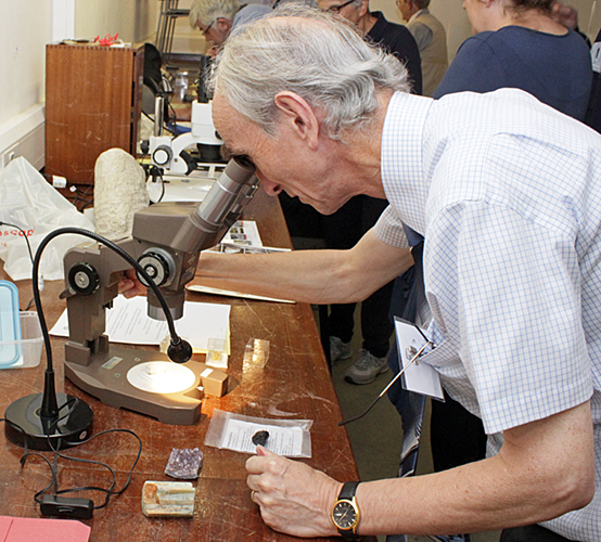 Alan Wood with Kit Brownlee's exhibit