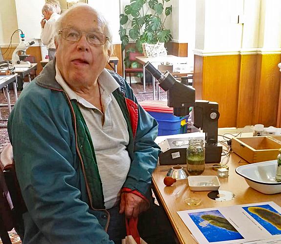 John Charlton with Les Franchi's exhibit