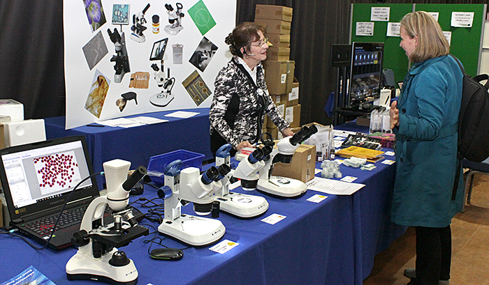 Helen Murray on the Brunel Microscopes stand